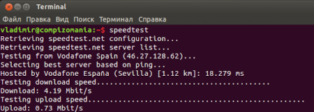 Как проверить скорость интернет, не открывая веб-браузер в Xubuntu